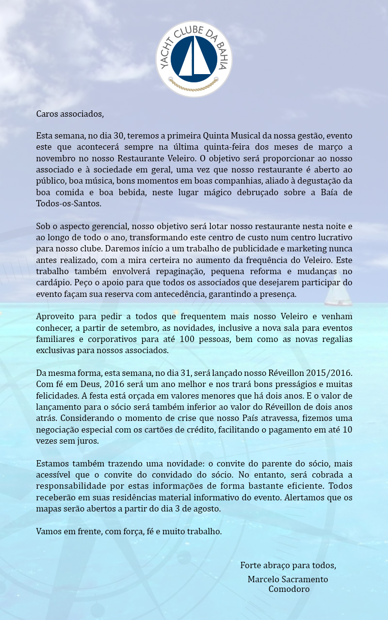 Carta do Comodoro Marcelo Sacramento
